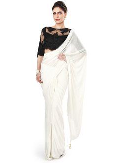 White saree matched with black embellished blouse only on Kalki - Kalkifashion.com