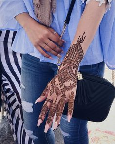 44 Simple And Easy Henna Tattoo Designs That will Attract Beauty - Tattoos - . Henna Hand Designs, Henna Tattoo Designs, Modern Henna Designs, Mehndi Designs For Hands, Traditional Henna Designs, Arabic Henna Designs, Tattoo Ideas, Henna Tattoo Hand, Simple Henna Tattoo