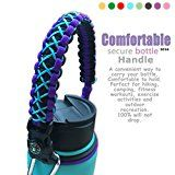 cool QeeLink Handle for Hydro Flask - Secure Design - Wide Mouth Water Bottles Carrier - Includes Paracord Survival Strap with Compass Fire Starter Whistle - Perfect For Outdoor Bottle Carrier (Purple)