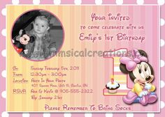 WhimsicalCreations.ca: Minnie Mouse Birthday Invitation and matching Personalized Thank You card