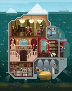 """Scene #5: """"The tip of the iceberg"""" Pixel Art illustration by Octavi Navarro.  http://www.pixelshuh.com/ #pixelart #videogames"""