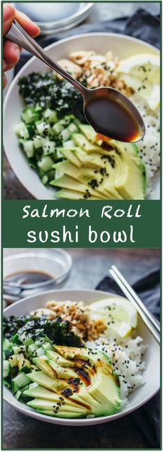 Salmon roll sushi bowl - Imagine your favorite sushi roll (California roll? Tuna roll? Dynamite roll?) — in a bowl. Almost everything tastes better in bowl form (think burritos) and sushi is no exception. This delicious sushi bowl recipe includes salmon, sliced avocado, diced cucumber, crumbled seaweed, and toasted sesame seeds. Best yet, there's an easy-to-make spicy dressing made of soy sauce, sriracha, and a hint of lemon. - http://savorytooth.com