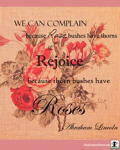 WE CAN COMPLAIN because Rose bushes have thorns Rejoice because thorn bushes have Roses ~ Abraham Lincoln