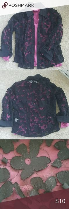 Tribal - Top Black Mesh and flower top - see-through.  Long sleeve with cuffs and collar.   Great with a bright top underneath and dress pants. Tribal Tops Button Down Shirts