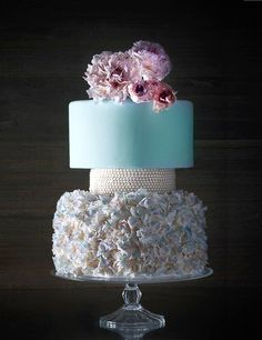 Tiffany Blue & White Layered Wedding Cake with Flowers