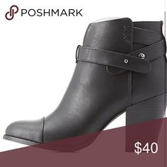 "Cute black booties These fab faux nubuck ankle boots update the almond-toed classic with a subtle, skinny belt that wraps around the ankle! Single sole upper sits on a faux-stacked block heel for the perfect boost.   Zipper closure at instep Lightly cushioned insole Non-skid rubber sole  Product Fit: Shaft: 4.5"" Opening: 10"" Heel: 3"" Shoes Ankle Boots & Booties"