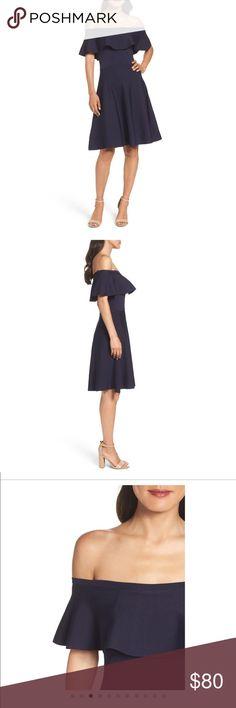 Eliza J off the shoulder navy dress Eliza J off the shoulder navy dress worn once Eliza J Dresses Mini