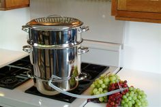 10 Qt Stainless Steel Steam Juicer - make your own fruit juice! Steam Juicer, Wood Stove Cooking, Best Juicer, Oil Lamps, Kitchenware, Coffee Maker, Kitchen Appliances, Hardware, Stainless Steel