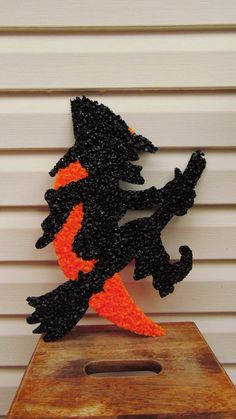 Vintage Halloween Popcorn Witch On Broomstick by BessyBellVintage