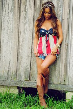 America The Beautiful Top: Navy/Red/Cream Fourth of July country girl outfit with cowboy boots Country Girl Style, Country Fashion, Country Outfits, Country Girls, 4th Of July Outfits, Summer Outfits, Cute Outfits, Trend Fashion, Womens Fashion