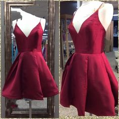 Stunning New Homecoming Dresses,Deep V Neck Homecoming Dresses, Straps Real Photos Draped Dark Red Satin Short Party Gowns, Short Homecoming Dress, Amazing Homecoming Dresses