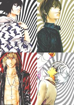 Death Note... Oh my god L... *pets L*... uhhh when did Near get hot?!?! << THIS WOMAN'S REACTION! XD But I'm really wondering how Mello suddenly got hot if he's always wearing some latex or black leather top that makes him look like a girl... I'm actually into Matt... But Mello... Dang...
