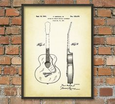 Guitar Patent Wall Art Poster by QuantumPrints on Etsy
