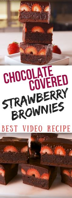Chocolate Covered Strawberry Brownies Best Video Recipe Dessert Shared by SPCN Just Desserts, Delicious Desserts, Dessert Recipes, Yummy Food, Strawberry Brownies, Chocolate Covered Strawberries, Homemade Chocolate, Chocolate Recipes, Choco Chocolate