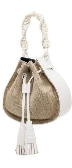 Tory Burch Resort 2015 handbag with cord string Fall Handbags, Purses And Handbags, Leather Handbags, Leather Bag, Fabric Bags, Leather Projects, Handmade Bags, Beautiful Bags, My Bags
