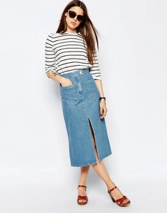 ASOS Denim Midi Skirt With Patch Pockets In Mid Wash Blue