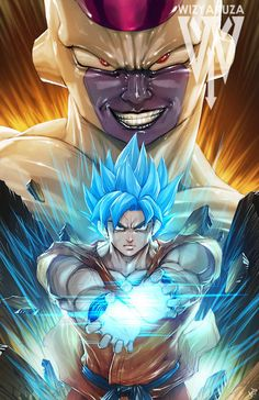 Super Saiyan God Goku vs. Golden Frieza Dragon Ball by Wizyakuza