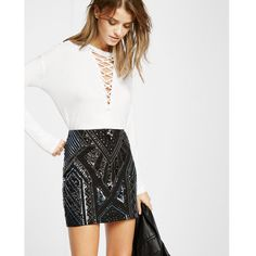 Express Sequin Embellished Mini Skirt ($60) ❤ liked on Polyvore featuring skirts, mini skirts, black, sequin cami, short sequin skirt, strappy cami, mini cami and sequin camisole