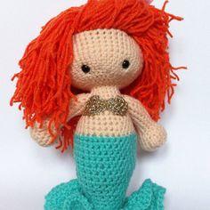 Red head ginger mermaid doll. Personalised fantasy doll. The Little Mermaid. Hans Christian Anderson. Crochet amigurumi doll