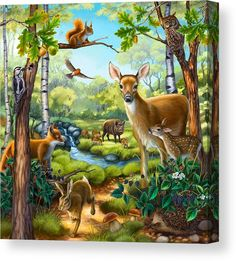 Forest animal puzzle illustration by anne wertheim directory. Canva Instagram, Animals And Pets, Cute Animals, Animal Puzzle, Image Nature, Animal Habitats, Animal Posters, Forest Animals, Wildlife Art