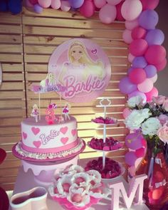 Baby Girl Birthday Theme, Barbie Birthday Cake, Fairy Birthday Party, 4th Birthday Parties, Birthday Bash, Barbie Party Decorations, Barbie Theme Party, Elmo Party, Bolo Barbie