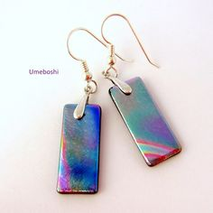 Pastel rainbow colored dichroic glass earrings