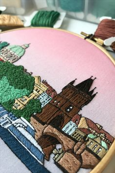 This item is unavailable Hand Embroidery Art, Modern Embroidery, Petersburg Russia, Saint Petersburg, Charles Bridge, Wooden Hoop, French Knots, Beautiful Hands, Prague