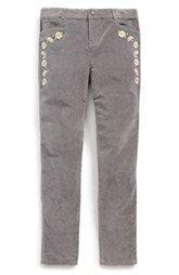 Tea Collection 'Cinta' Embroidered Slim Fit Pants (Toddler Girls, Little Girls & Big Girls)