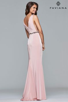 c7f781419d Back Image Of Dusty Pink Long Stretch Faille Satin V-Neck Dress With Beaded  Waistband
