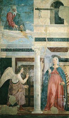 IV episodio: La Anunciación. La muerte de Cristo anunciada en la forma de cruz de la tabla.