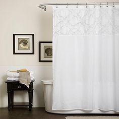 Lush Decor Misty Meadow Shower Curtain In White
