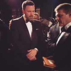 Pin for Later: The Best Instagram Snaps From Oscars Weekend!  Ben Affleck prepped for his presentation backstage.