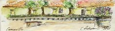 Plein Air Sketchbook. Camarillo California 2011. A Pavillion With Benches And Potted Flowers Painting  - Plein Air Sketchbook. Camarillo California 2011. A Pavillion With Benches And Potted Flowers Fine Art Print