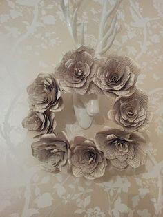 Book page flower wreath