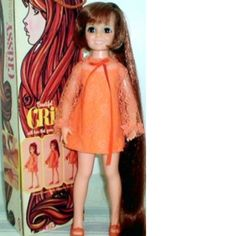 One of my favorite doll her hair shortened with a button into her head or you pulled it out to lengthen it.. There was a blonde doll that came later, her little sister.!