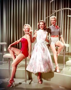 Marilyn Monroe, Lauren Bacall and Betty Grable in a promotional photograph for How To Marry A Millionaire, 1953.