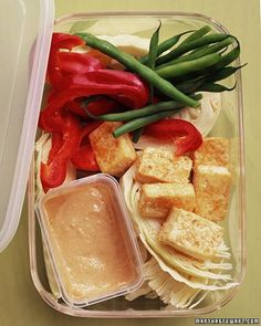 Crisp Tofu with Crudites and Sesame-Ginger Dipping Sauce