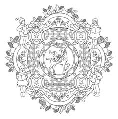 Mandala 614, Christmas Designs 3D Coloring Book, Dover Publications