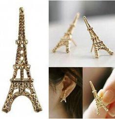 E024 La I Gioielli Coreano Arco Perla Torre Eiffel orecchini grande Orecchino della vite Prigioniera dell'oro dichiarazione orecchino della vite prigioniera dell'orecchino per le donne