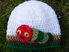 Pattern to Crochet Newborn Baby Hat with Cute Caterpillar