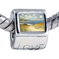 Pugster Path In Wheat Photo Love Beads Fits Pandora Charm Bracelet Pugster. $12.49. Unthreaded European story bracelet design. It's the photo on the love charm. Bracelet sold separately. Fit Pandora, Biagi, and Chamilia Charm Bead Bracelets. Hole size is approximately 4.8 to 5mm