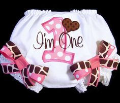First Birthday Bloomers, Pink and Brown Giraffe Print, Birthday Outfit, I'm One, Number One. $22.50, via Etsy.