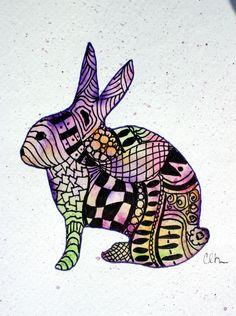 Zentangle art, watercolor card, Zentangle rabbit, greeting card, original art, zentangle, watercolor, rabbit. $4.75, via Etsy.