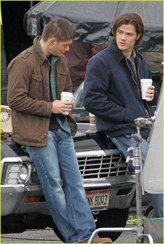 On set of SPN filming Jensen & Jared aka Dean and Sam Winchester.
