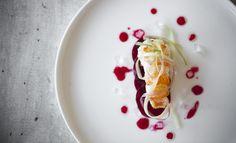 Gebakken langoustine met carpaccio van rode biet , rabarber en gelei van roos