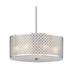 Design Classics Milo Modern Three-Light Drum Pendant with Milano Shade | DCL 6528-09 SH9462 | Destination Lighting
