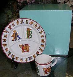 Tiffany u0026 Co.  ABC  Baby Porcelian China & Tiffany u0026 Co. Fire Station 3-piece Baby Set in Porcelain. New in Box ...