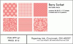 Berry Sorbet Pattern Pack (36 Sheets)