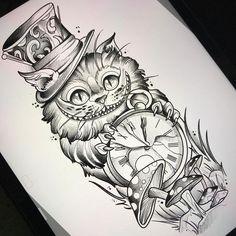 Alice In Wonderland Cheshire Cat Tattoo Alice im Wunderland Cheshire Cat Tattoo Diy Tattoo, Tattoo Cat, Tattoo Thigh, Tattoo Sketches, Tattoo Drawings, Wolf Drawings, Tatto Alice, Body Art Tattoos, Sleeve Tattoos