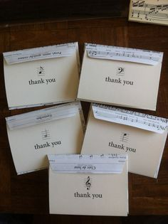 """Sheet Music Envelopes and """"Thank You"""" Note Cards, Set of Five"""